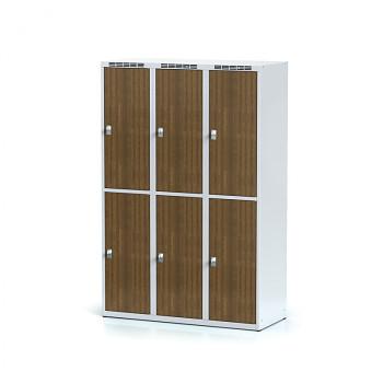 Šatní skříň boxová, bez podnože, svařovaná,  6x ořech dv./korp. šedá, zámek cylindrický, I