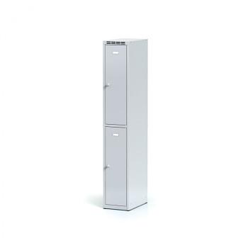 Šatní skříň boxová, bez podnože, svařovaná,  2x šedá dv./korp. šedá, zámek cylindrický
