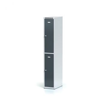 Šatní skříň boxová, bez podnože, svařovaná,  2x antracit dv./korp. šedá, zámek cylindrický