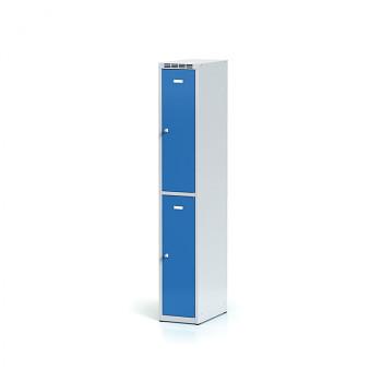 Šatní skříň boxová, bez podnože, svařovaná,  2x modrá dv./korp. šedá, zámek otočný