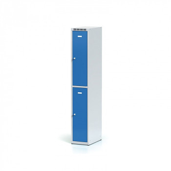 Šatní skříň boxová, bez podnože, svařovaná,  2x modrá dv./korp. šedá, zámek cylindrický