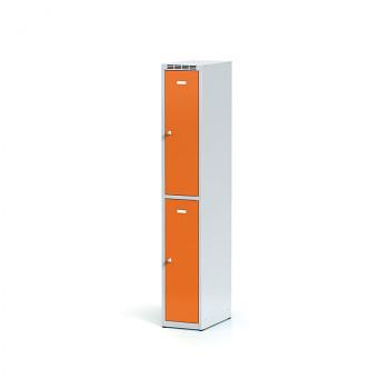 Šatní skříň boxová, bez podnože, svařovaná,  2x oranžová dv./korp. šedá, zámek otočný
