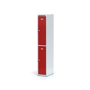 Šatní skříň boxová, bez podnože, svařovaná,  2x červená dv./korp. šedá, zámek cylindrický