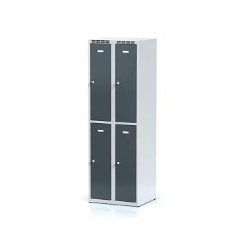 Šatní skříň boxová, bez podnože, svařovaná,  4x antracit dv./korp. šedá, zámek cylindrický, I
