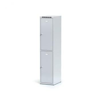 Šatní skříň boxová, bez podnože, svařovaná,  2x šedá dv./korp. šedá, zámek otočný, I