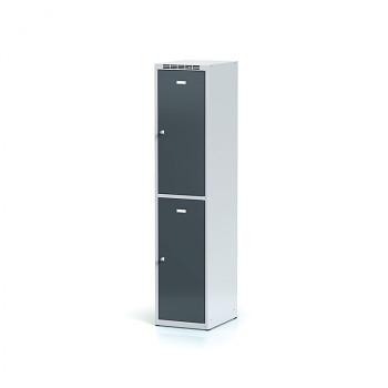 Šatní skříň boxová, bez podnože, svařovaná,  2x antracit dv./korp. šedá, zámek cylindrický, I