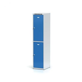Šatní skříň boxová, bez podnože, svařovaná,  2x modrá dv./korp. šedá, zámek otočný, I