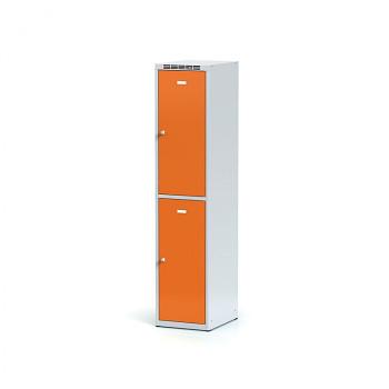 Šatní skříň boxová, bez podnože, svařovaná,  2x oranžová dv./korp. šedá, zámek otočný, I