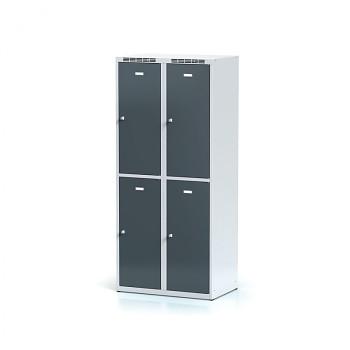 Šatní skříň boxová, bez podnože, svařovaná,  4x antracit dv./korp. šedá, zámek cylindrický, II