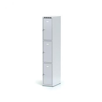 Šatní skříň boxová, bez podnože, svařovaná,  3x šedá dv./korp. šedá, zámek otočný