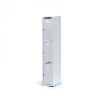 Šatní skříň boxová, bez podnože, svařovaná,  3x šedá dv./korp. šedá, zámek cylindrický