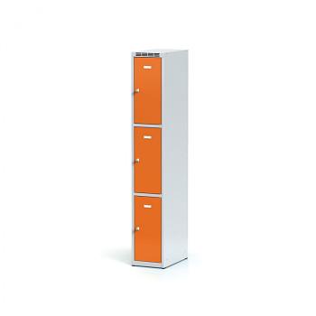 Šatní skříň boxová, bez podnože, svařovaná,  3x oranžová dv./korp. šedá, zámek otočný