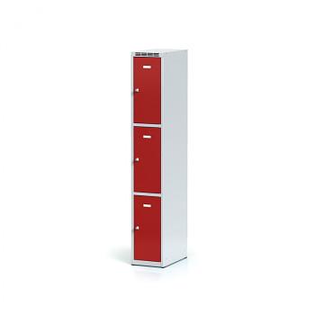 Šatní skříň boxová, bez podnože, svařovaná,  3x červená dv./korp. šedá, zámek otočný
