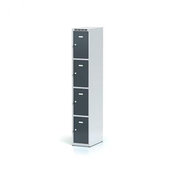 Šatní skříň boxová, bez podnože, svařovaná,  4x antracit dv./korp. šedá, zámek otočný