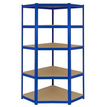 Rohový regál zásuvný, 200 kg/police - dřevotříska x5, 1800x 900x 450, modrý
