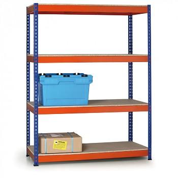 Základní regál zásuvný, 400 kg/police - dřevotříska x4, 1800x1200x 600, oranžová/modrá