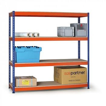 Základní regál zásuvný, 400 kg/police - dřevotříska x4, 1800x1800x 600, oranžová/modrá