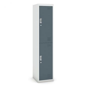 Šatní skříň boxová, bez soklu, demontovaná,  2x tm šedá dv./korp. šedá, zámek cylindrický