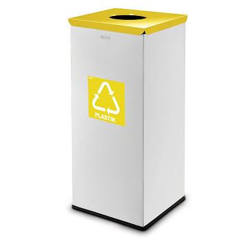 Koš na tříděný odpad 90 l šedý/žluté víko