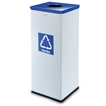 Koš na tříděný odpad 90 l šedý/modré víko