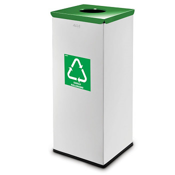Koš na tříděný odpad 90 l šedý/zelené víko