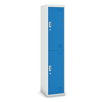Šatní skříň boxová, bez soklu, demontovaná,  2x modrá dv./korp. šedá, zámek cylindrický
