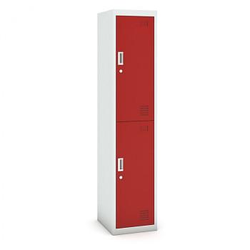 Šatní skříň boxová, bez soklu, demontovaná,  2x červená dv./korp. šedá, zámek cylindrický
