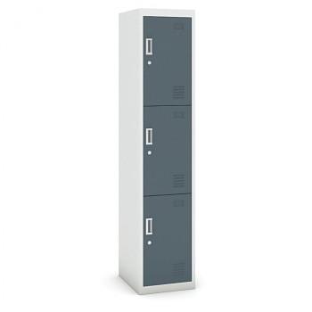 Šatní skříň boxová, bez soklu, demontovaná,  3x tm šedá dv./korp. šedá, zámek cylindrický