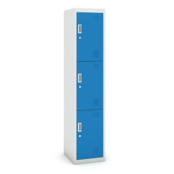 Šatní skříň boxová, bez soklu, demontovaná,  3x modrá dv./korp. šedá, zámek cylindrický