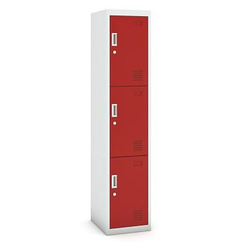 Šatní skříň boxová, bez soklu, demontovaná,  3x červená dv./korp. šedá, zámek cylindrický