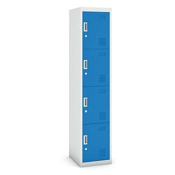 Šatní skříň boxová, bez soklu, demontovaná,  4x modrá dv./korp. šedá, zámek cylindrický