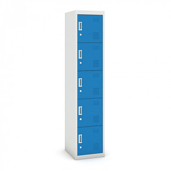 Šatní skříň boxová, bez soklu, demontovaná, 5x modrá dv./korp. šedá, zámek cylindrický