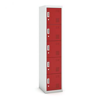 Šatní skříň boxová, bez soklu, demontovaná,  5x červená dv./korp. šedá, zámek cylindrický