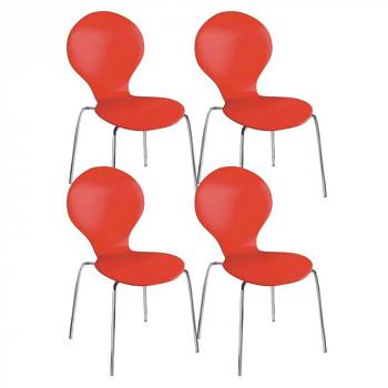 Židle CANDY červená 4 ks