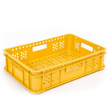 Plastová přepravka děrovaná žlutá 600x400x135 mm