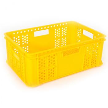 Plastová přepravka děrovaná žlutá 600x400x220 mm