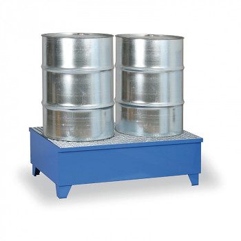 Záchytná vana s roštem 240 l, pro 2x sud, modrá, s nožkami