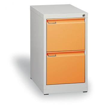 Kartotéka A4 kovová, 2x zásuvka, oranžová, demont