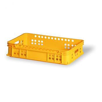 Plastová přepravka děrovaná žlutá I 600x400x135 mm