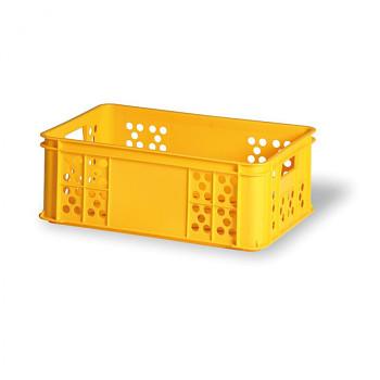Plastová přepravka děrovaná žlutá I 600x400x220 mm