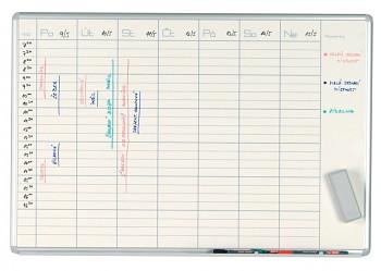 Magnetická plánovací tabule týdenní 1000x700 mm, keramická