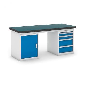 Dílenský stůl GB 500, 1800 mm + kontejnery skříň a zásuvkový podstavné