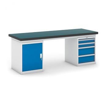 Dílenský stůl GB 500, 2100 mm + kontejnery skříň a zásuvkový podstavné