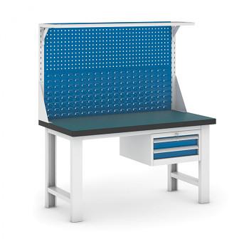 Dílenský stůl GB 500, 1500 mm + kontejner zásuvkový závěsný + nástavba
