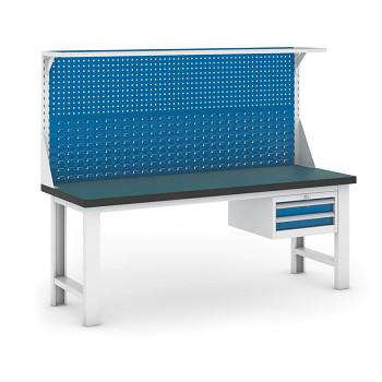 Dílenský stůl GB 500, 2100 mm + kontejner zásuvkový závěsný + nástavba