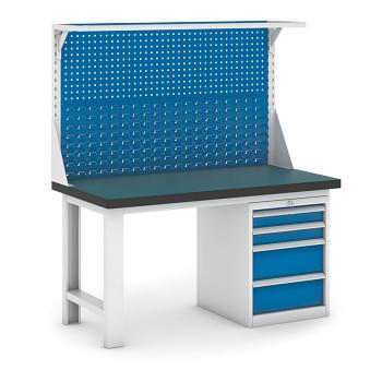 Dílenský stůl GB 500, 1500 mm + kontejner zásuvkový podstavný + nástavba