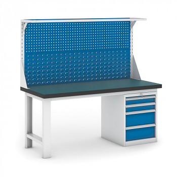 Dílenský stůl GB 500, 1800 mm + kontejner zásuvkový podstavný + nástavba
