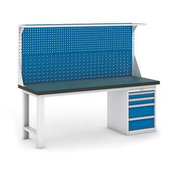 Dílenský stůl GB 500, 2100 mm + kontejner zásuvkový podstavný + nástavba