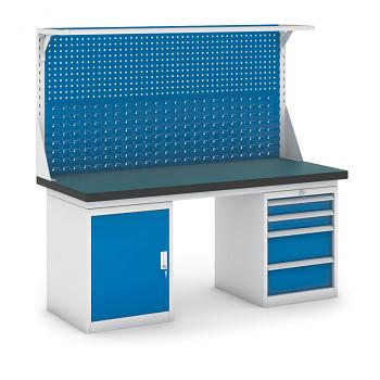 Dílenský stůl GB 500, 1800 mm + kontejnery skříň a zásuvkový podstavné + nástavba