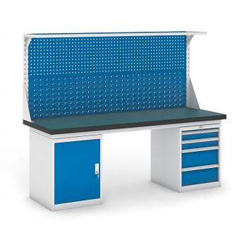 Dílenský stůl GB 500, 2100 mm + kontejnery skříň a zásuvkový podstavné + nástavba